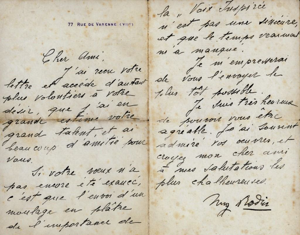 Rodin's letter to Mestrovic