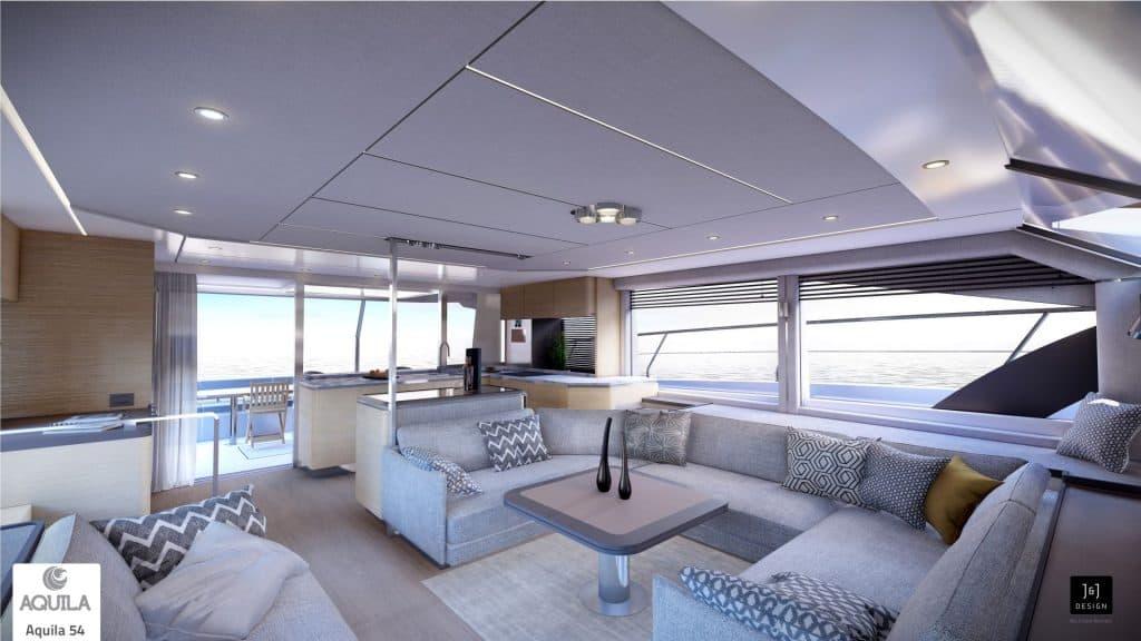 Aquila 54 Power Catamaran Salon 01