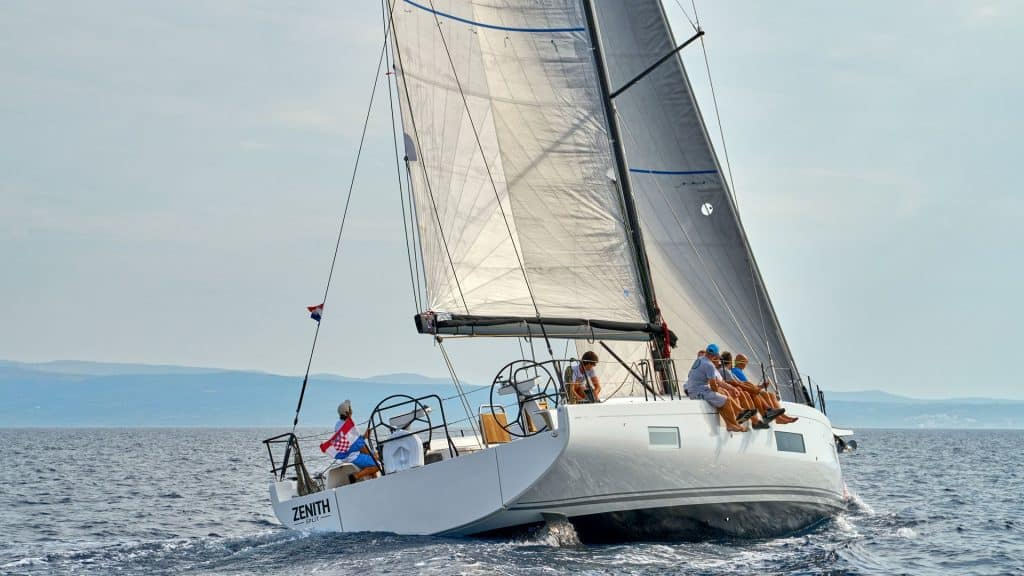 This is a photograph of a Beneteau First 53 in Croatia