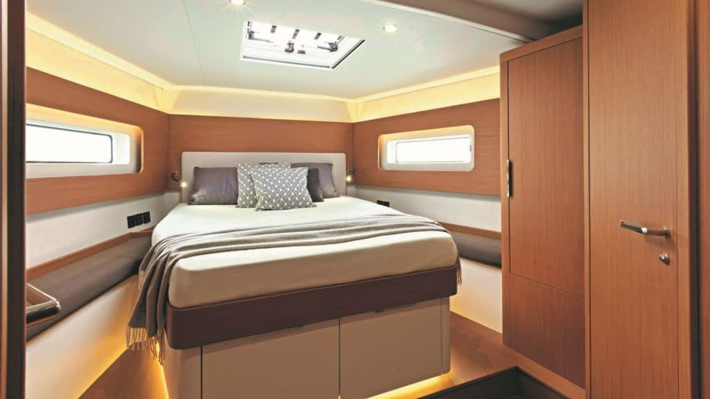 Thisi is a photograph of a Beneteau First 53 Yacht cabin