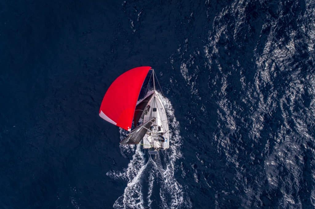 This is a photograph of a Classe Mini sailing in Croatia