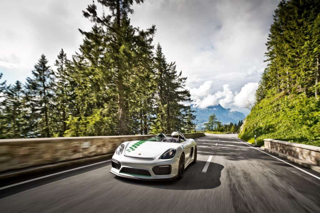 This is a photograph of a Porsche Boxster Bergspyder Drive Countryside 01