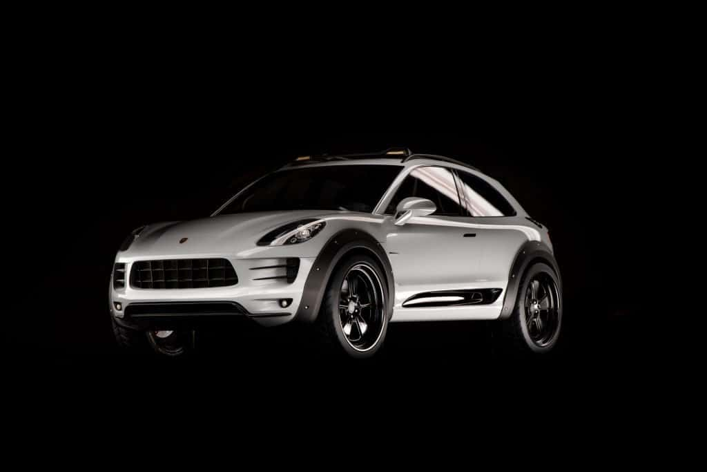 This is a photograph of a Porsche Macan Vision Safari Front View 01