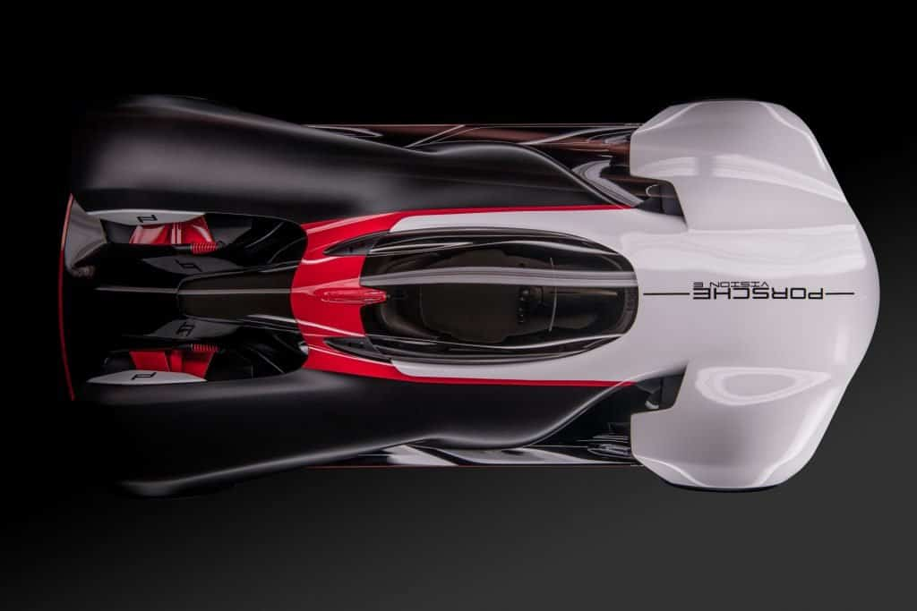 This is a photograph of a Porsche Vision E Upper View 01