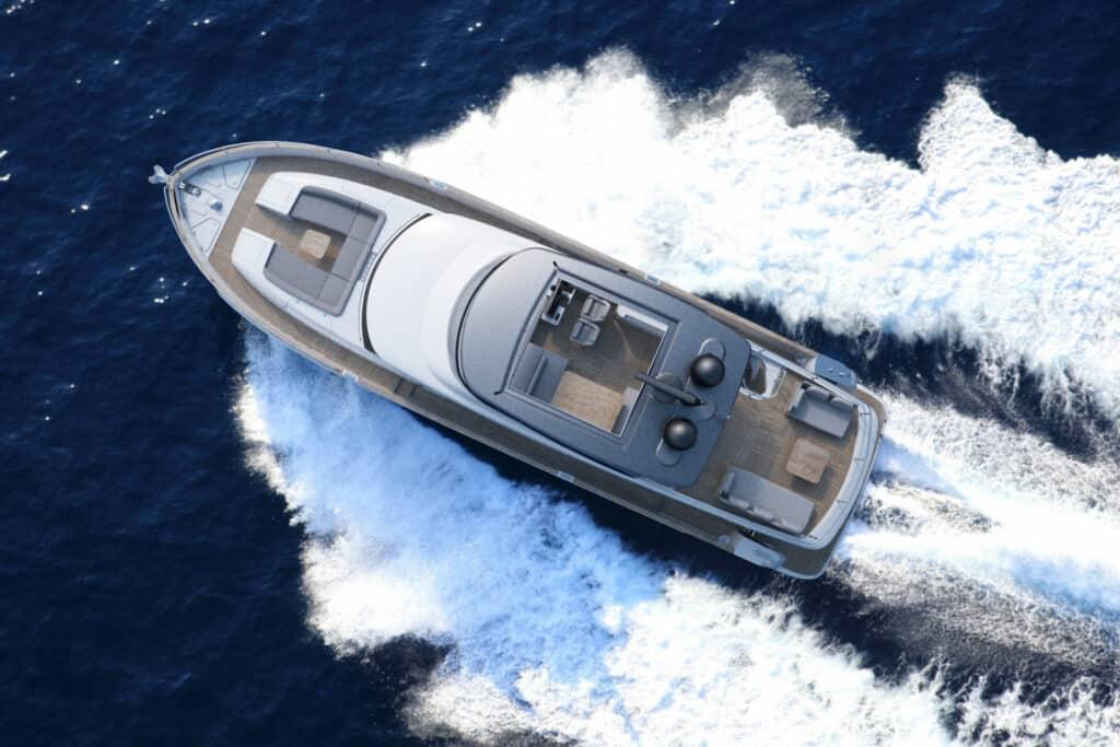 Ovo je fotografija novog Azimut Magellano 66 u plovidbi