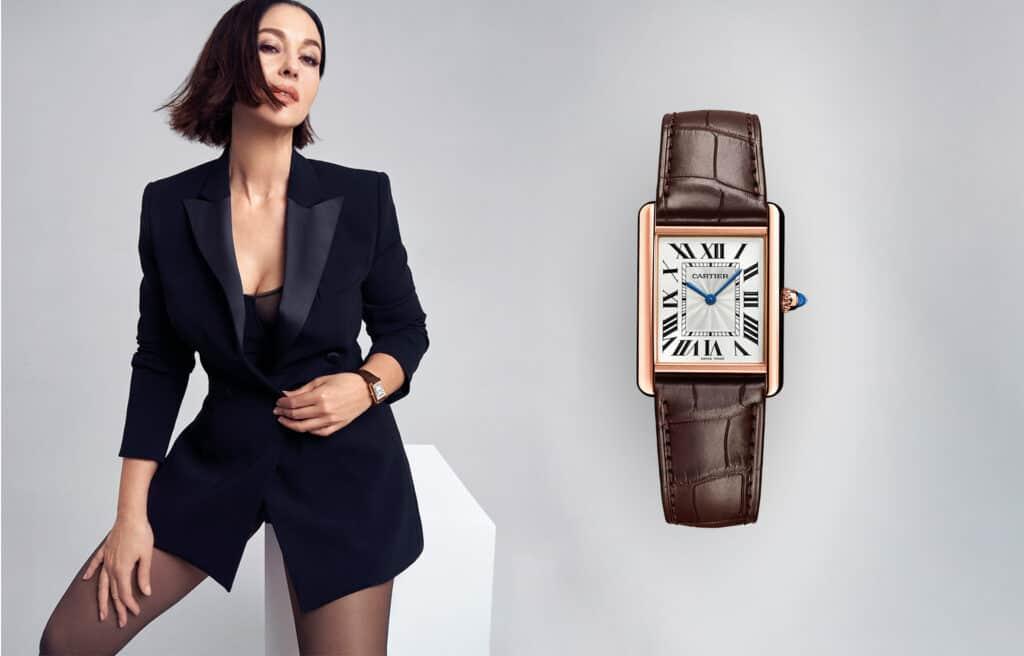Ovo je fotografija Monice Bellucci koja nosi Cartier sat