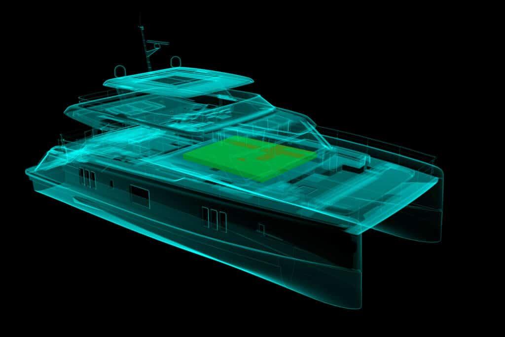 Ovo je fotografija rengen prikaz Sunreef modela-ray view