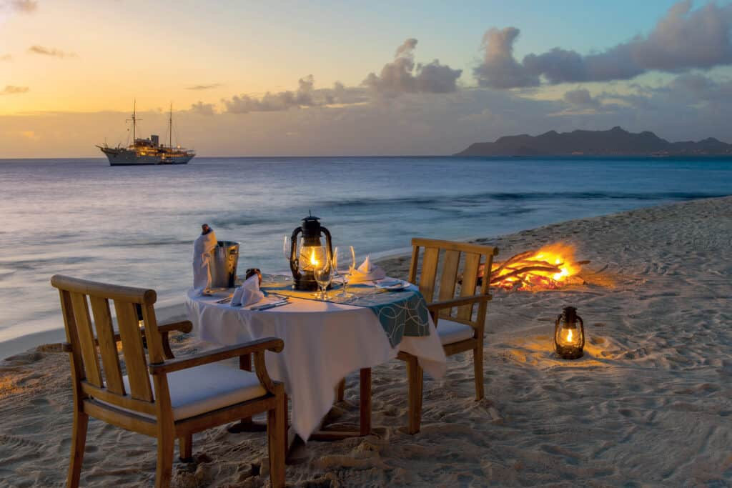 This is photo of a Petit St. Vicent dinner at beach
