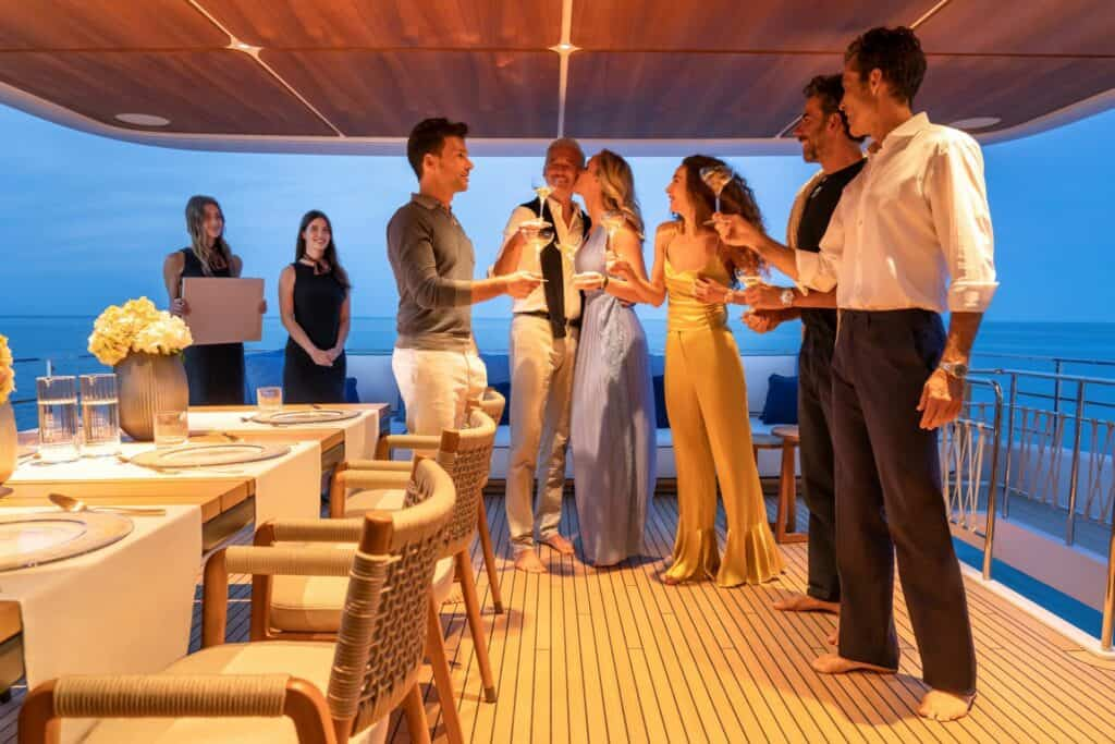 This is a photography luxury yacht dinner