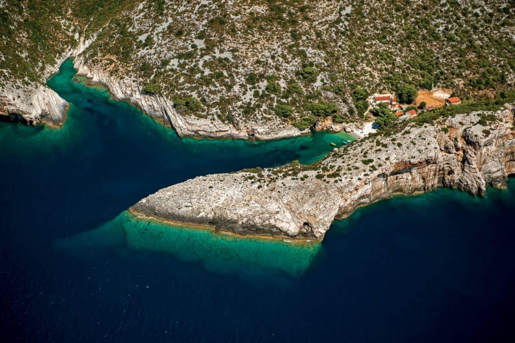 This is a photography of Pritišćina bay on Island of Vis, Croatia