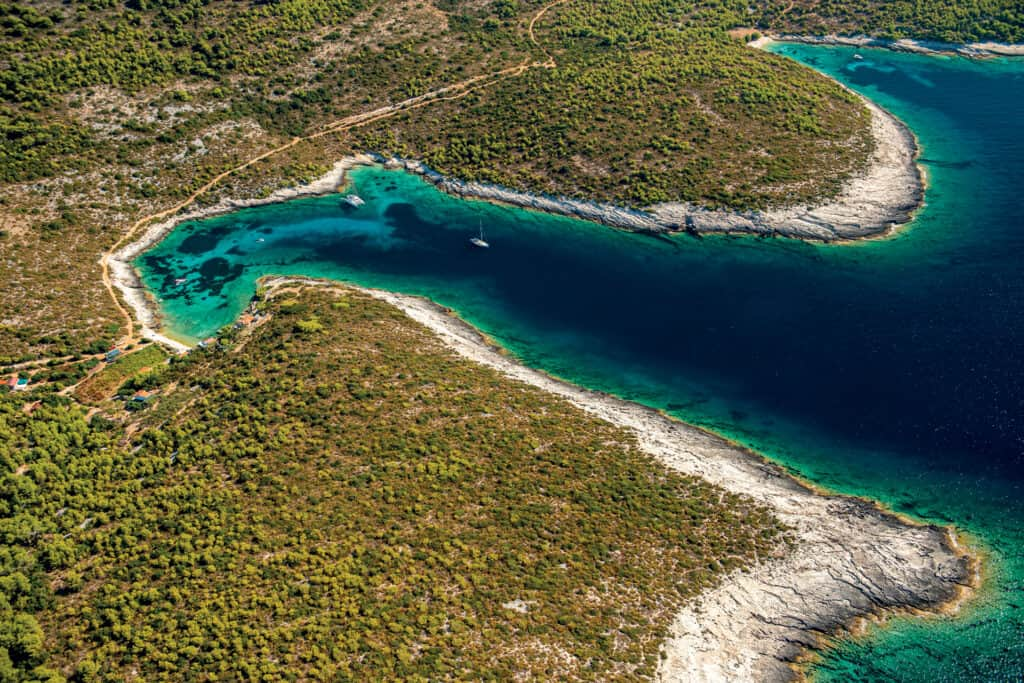 This is a photography of Travna, island of Vis, Croatia