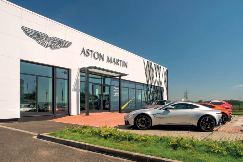 This is photo of a Aston MArtin salon Budapest